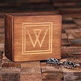 Personalized Engraved Bat Man Cuff Links in Monogrammed Wood Box