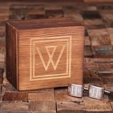 Monogrammed Engraved Classic Rectangular Cuff Links in Wood Gift-Box
