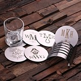 Monogrammed 6 pc Stainless Steel Coasters Set (34 Monogram Designs)