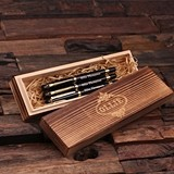 Personalized Set of 3 Metal Pens in Wood Box (Gold or Silver Hardware)