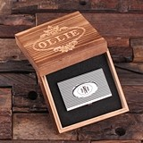 Monogrammed Stainless Steel Business Card Holder with Wood Gift Box