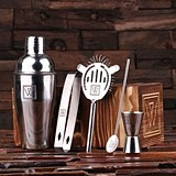 Monogrammed 5 pc. Stainless Steel Cocktail Set (34 Monogram Designs)