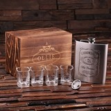 Personalized Steel Flask with Funnel and 4 Shot Glasses in Wooden Box