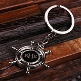 Monogrammed Polished Stainless Steel Key Chain with Ship's Wheel Charm