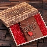 Valentine's Day Set of 2 Monogrammed Journals in Wood Box (34 Designs)