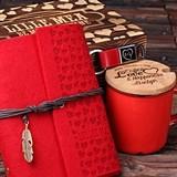 Valentine's Day Gift Set with Journal, Mug & Keychain in Wood Gift-Box
