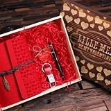 Valentine's Day Gift Set with Journal, Pen & Keychain in Wood Gift-Box