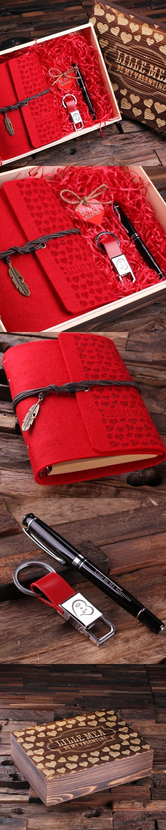 Valentine S Day Gift Set With Journal Pen Keychain In Wood Gift
