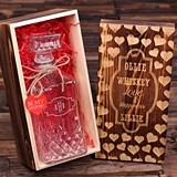 Engraved Whiskey Decanter and Wood Box Valentine's Day Gift for Him