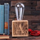 Monogrammed Wooden Edison Lamp with Vintage Bulb and Toggle Switch