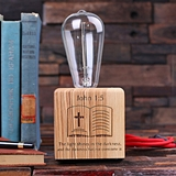 Personalized Wooden Edison Lamp with Engraved Bible Verse