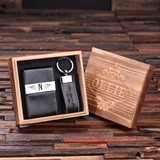 Monogrammed Leather Engraved Card Holder and Key Chain in Wood Box