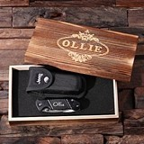 Personalized Jeep Utility Knife with Case Holder and Wood Gift-Box