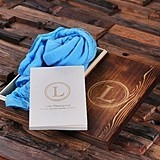 Colorful Shawl and Personalized Journal with Wood Gift Box (13 Colors)