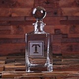 Monogrammed Glass Whiskey Decanter with Round Bottle Stopper