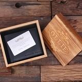 Personalized Genuine Leather Bi-fold Wallet w/ Wallet Card in Wood Box
