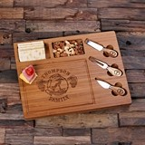 Personalized Bamboo Wood Cutting Board/Serving Tray with Cheese Tools