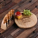 Personalized Bamboo-Wood Round Cheese Serving Board with Tools & Stand