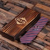 Men's Gift-Set w/ Tie, Personalized Tie Clip & Cuff Links in Wood Box
