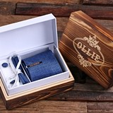 Personalized Tie Clip, Silk Tie, Pocket Square & Cuff Links (3 Styles)