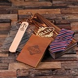 Personalized Leather Journal, Tie Clip, Tie Rack & Silk Tie (3 Styles)