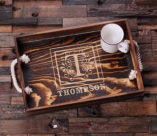 personalized engraved wood serving tray with nautical rope handles
