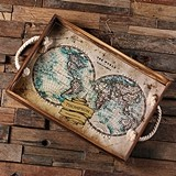 Personalized Vintage World Map Design Rope-Handled Wood Serving Tray