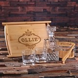Personalized Wood Tray Set with Decanter, Glasses, Ice Bucket & Tongs