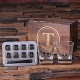 Monogrammed Whiskey Glasses & 8 Stainless Steel Ice-Cubes in Wood Box