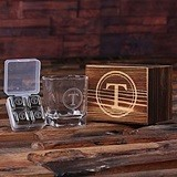 Monogrammed Whiskey Glass & 4 Stainless-Steel Ice-Cubes in Wood Box
