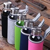 Glass Water Bottle w/ Neoprene Holder and Personalized Lid (5 Colors)
