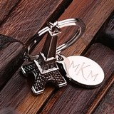Monogrammed Stainless Steel Eiffel Tower Keychain in Optional Wood Box