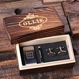 Monogrammed Gift-Set w/ Money Clip, Tie Clip & Cuff Links in Wood Box