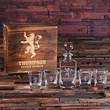 Personalized Medieval Lion Crest Whiskey Decanter Set w/ Wood Gift Box