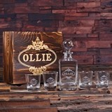 Personalized Scotch Whiskey Decanter and 4 Rocks Glasses in Wood Box