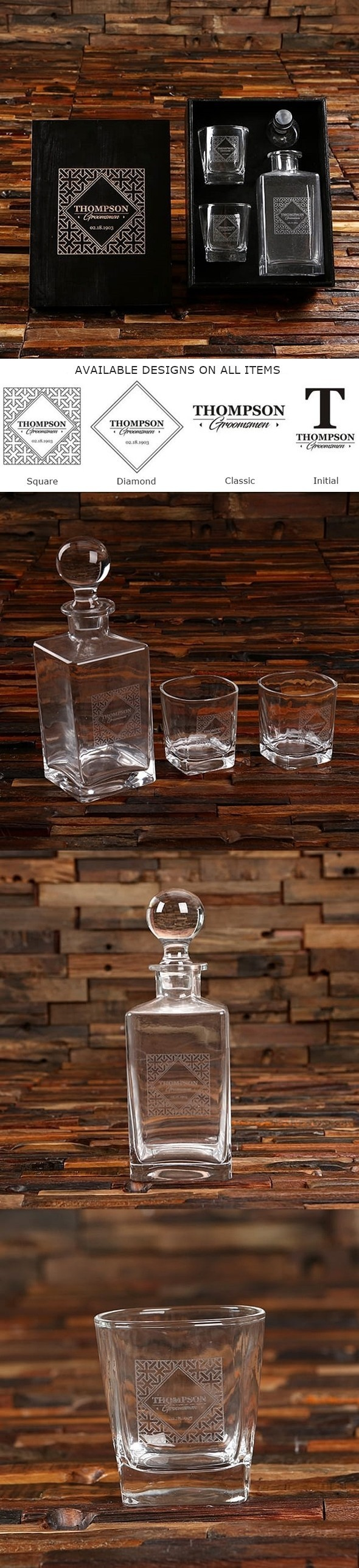Personalized Whiskey Decanter & Rocks Glasses in Black Finish Wood Box