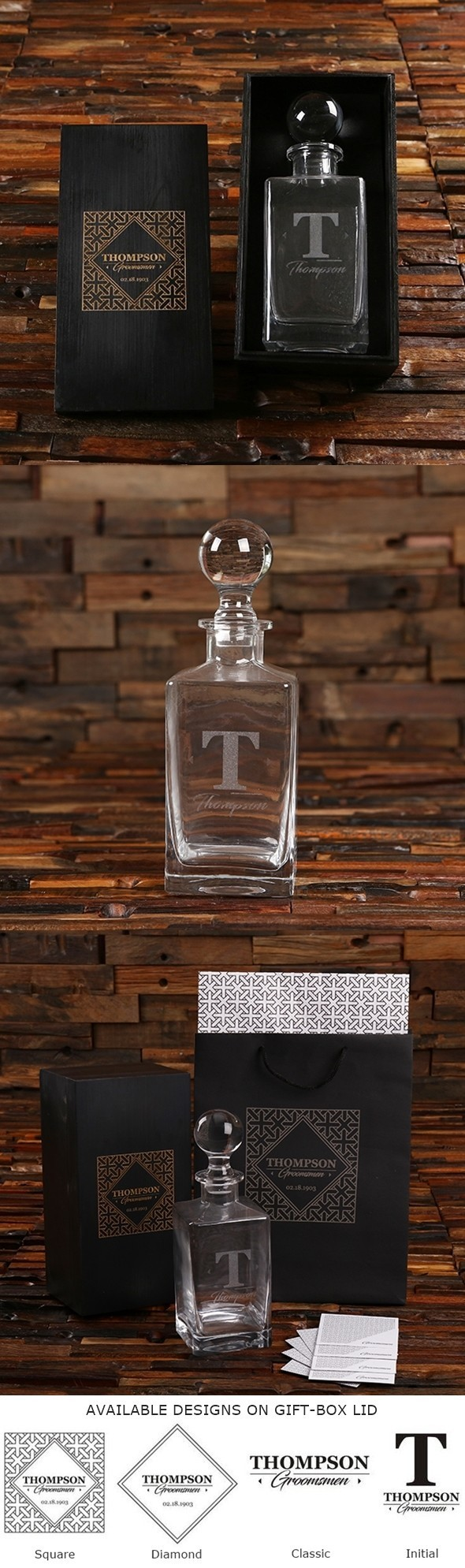 Personalized Whiskey Decanter Groomsmen Gift In Black Finish Wood Box