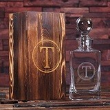Monogrammed Whiskey Decanter with Domed Stopper in Wood Gift Box