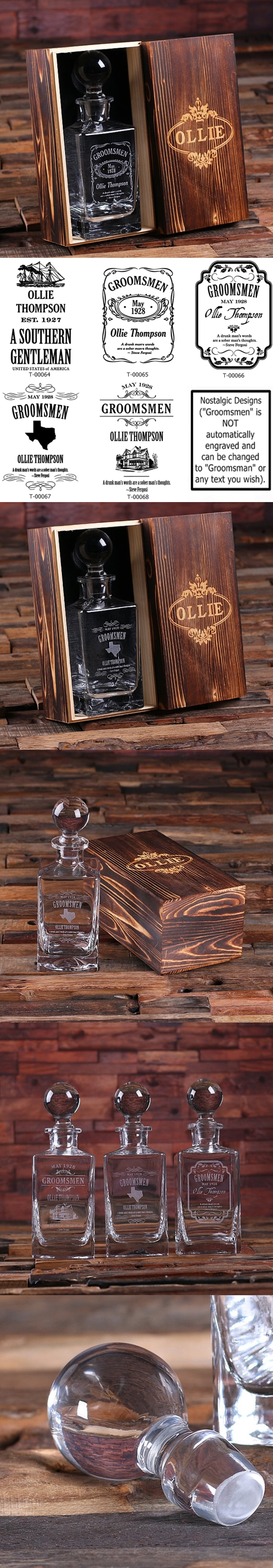 Personalized Decanter with Domed Stopper in Wood Gift-Box (5 Designs)
