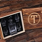Monogrammed Decanter with 4 Snifters in Wood Box (34 Monogram Designs)