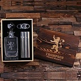 Personalized Medieval Lion Crest Decanter, Cigar Holder/Flask & Cutter