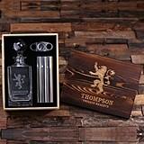 Personalized Medieval Lion Crest Decanter, Cigar Holder/Flask & Cutter