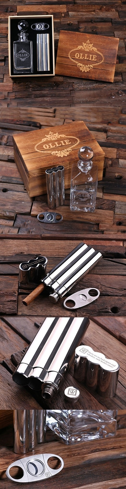 Personalized Decanter with Cigar Cutter and Holder, Flask and Wood Box