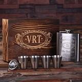 Monogrammed Steel Flask with Funnel & 4 Metal Shot Glasses in Wood Box