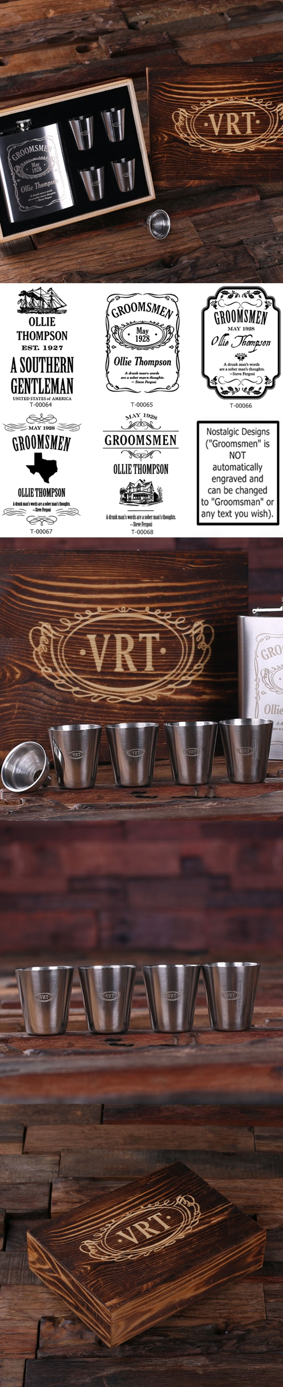 Monogrammed Steel Flask with Funnel & 4 Metal Shot Glasses in Wood Box