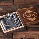 Personalized 5 oz Steel Whiskey Flask & Shot Glasses in Wood Gift-Box