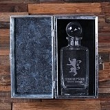 Personalized Medieval Lion Crest Decanter in Metal Case with Lock