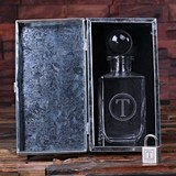 Monogrammed Glass Whiskey Decanter in Metal Case w/ Lock (34 Designs)