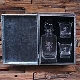 Personalized Medieval Lion Crest Whiskey Decanter & Rocks Glasses Set