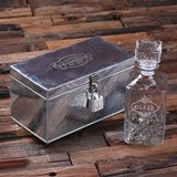 Personalized Oval Crest Design Whiskey Decanter in Metal Case w/ Lock